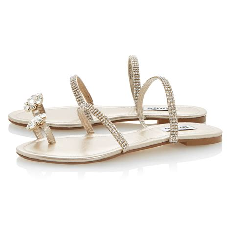 s dressy flat shoes dune kate leather flat dressy sandals in metallic lyst