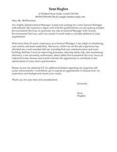 general manager covering letter exles management