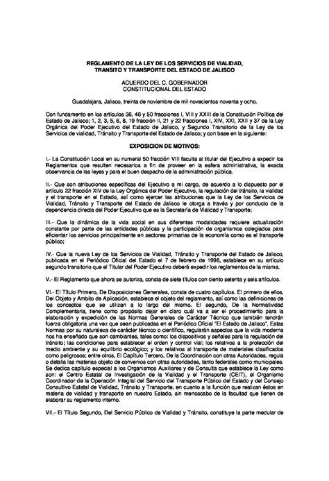 reglamento transito vialidad municipio guadalajara jalisco reglamento de la ley de los servicios de vialidad