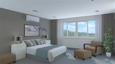 wall mounted air conditioner bedroom 3d animation