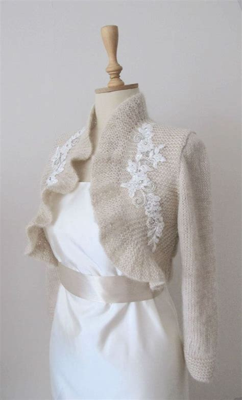 wedding bolero knitting pattern chagne knitted knitting bridal ruffle bolero rhinestone