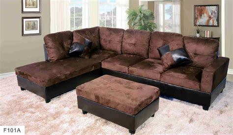 f101a brown microfiber faux leather sectional set with
