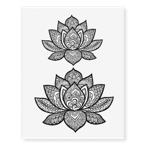 lotus henna design temporary tattoo sheet zazzle