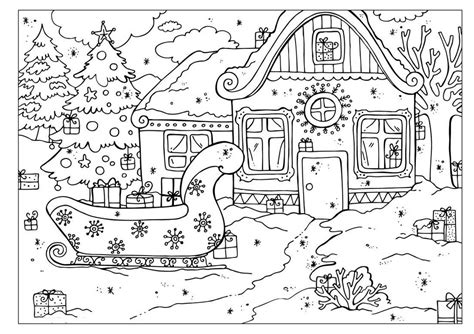 free coloring pages of village scene