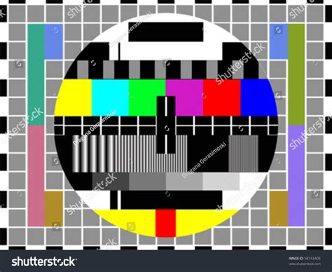 pattern tester tv color pattern test card vector stock vector 58743403