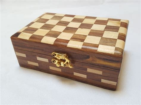 handmade wooden jewellery box with check design inlay