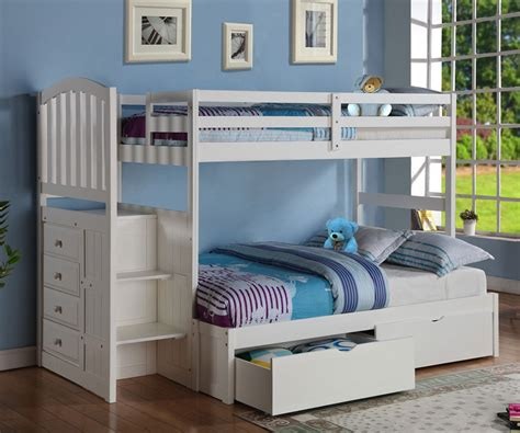 twin over futon bunk bed with stairs donco arch twin over full stair stepper bunk bed white