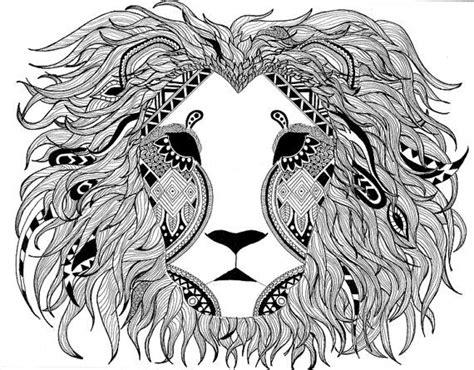 pattern drawing lion intricate pen drawing lion