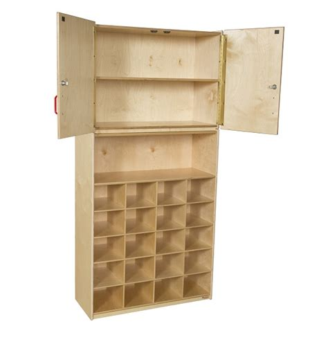 Vertical Storage Cabinet Wood Designs 20 Tray Vertical Storage Cabinet W O Trays Wd56209 Preschool Wall Systems