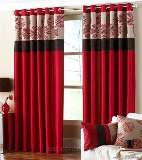 Clarimont Red Brown Designer Lined Curtain Curtains