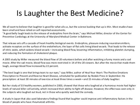 Laughter Is The Best Medicine Essay by Laughter Is The Best Medicine Essay Speech Essay On Laughter Is The Best Medicine Words