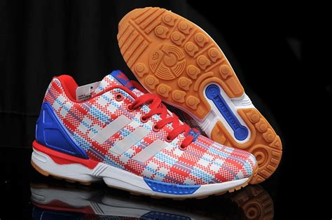 adidas zx flux blue pattern 50 discount red and blue grid pattern adidas originals