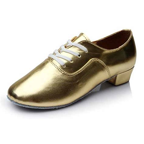salsa shoes golden pu shoes for boy ballroom salsa