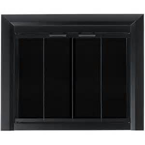 Bifold Glass Doors Shop Pleasant Hearth Clairmont Black Small Bi Fold Fireplace Doors With Smoke Tempered Glass At