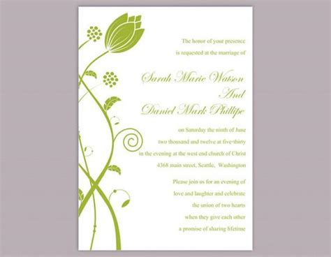elegant wedding invitation printable diy wedding invitation template editable word file instant