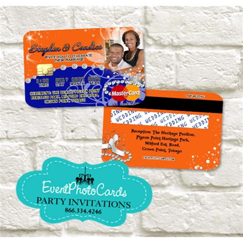 credit card wedding invitation template princess wedding credit card orange and blue