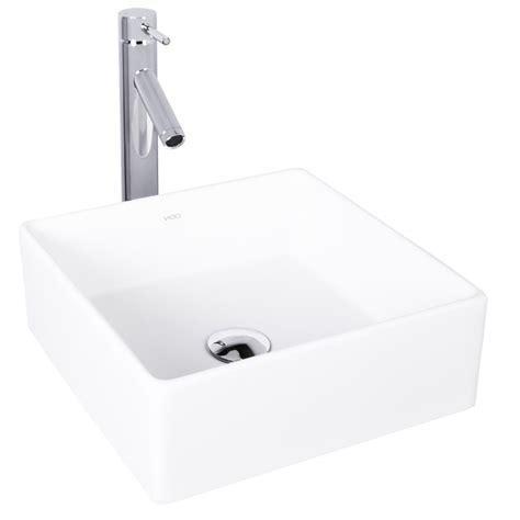 vigo composite vessel sink and vessel faucet set in chrome