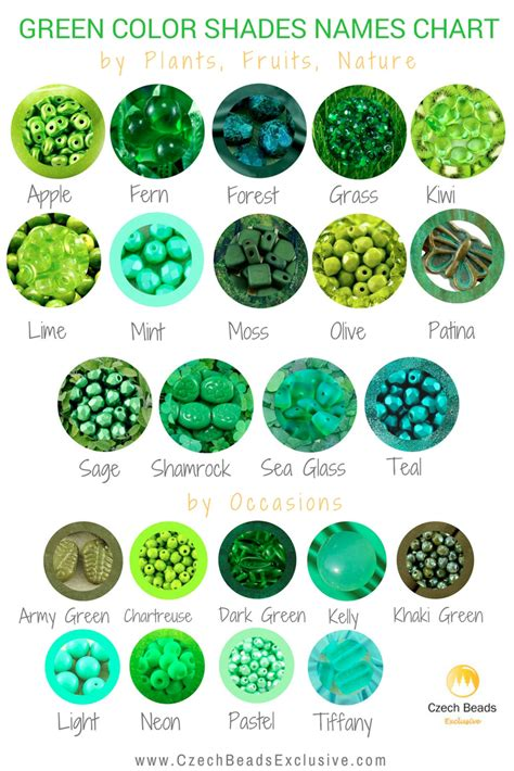 green color shades green color shades names chart for buttons cords