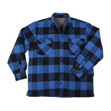 Flanel Tartan Blue White heavyweight brawny sherpa lined flannel jacket in blue or white plaid ebay