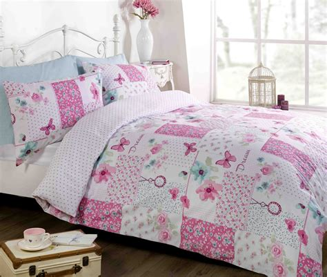 Patchwork Duvet Cover Set - pink duvet quilt cover bedding bed set single king