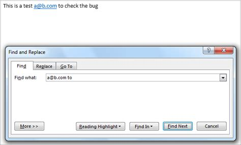Find Text Bug In Microsoft Word With Find And Replace When Searching Text Containing A Hyperlink