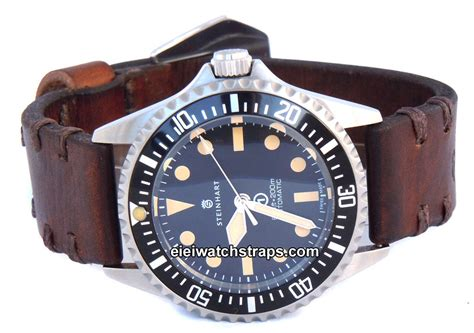 dom vintage style ammo leather watchstrap for steinhart