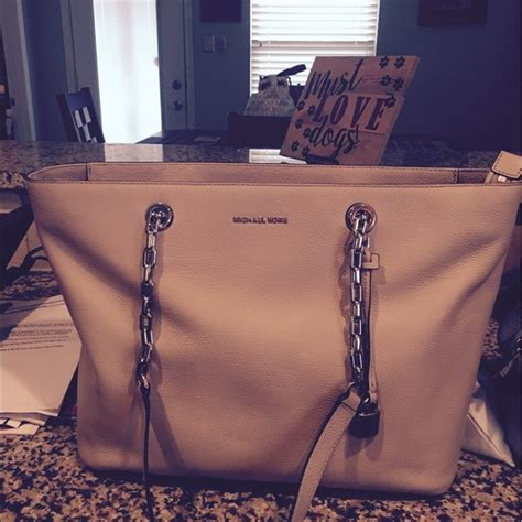 Tas Michael Kors Original Mk Mercer Chain Tote Burnt 24 michael kors handbags michael kors mercer chain link tote large from christine s