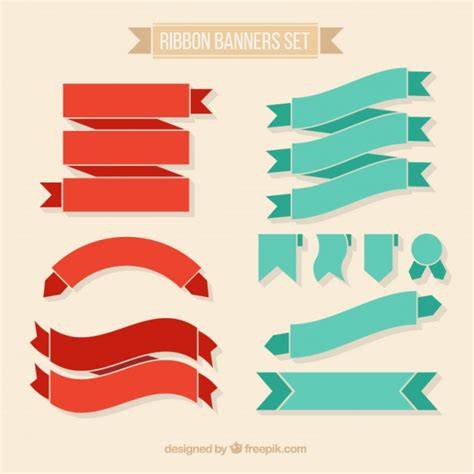 free ribbon vector banner set in ai eps cdr format vintage ribbons banners set vector free download