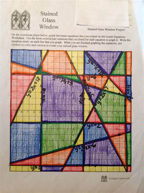 Stained Glass Window Worksheet by Stained Glass Math Activity Linear Equations Project