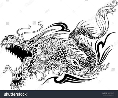 dragon doodle sketch tattoo vector 126935897 shutterstock