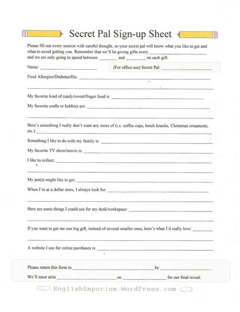 secret santa template form secret santa sign up form for teachers secret pal ideas