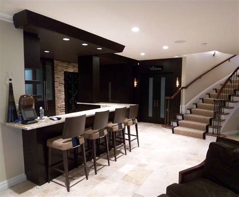 bar design in living room lower level bar contemporary living room other metro by millennium cabinetry