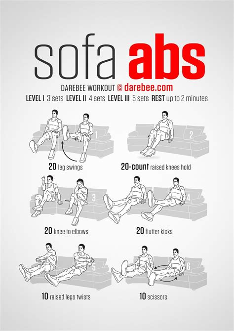 Sofa Abs Workout Workout Pinterest Workout