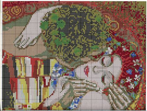 free pattern in cross stitch free cross stitch pattern g klimt quot the kiss quot diy 100 ideas