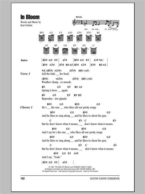 guitar tutorial nirvana in bloom sheet music by nirvana lyrics chords 78420