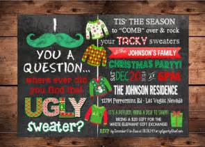 mustache ugly sweater holiday party invitation by