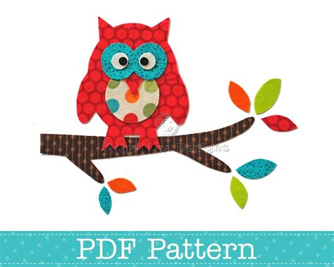 Owl Applique Template by Applique Template Owl On Branch Bird Animal