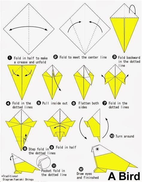 How To Make A Paper L For - origami de pajaro imagui