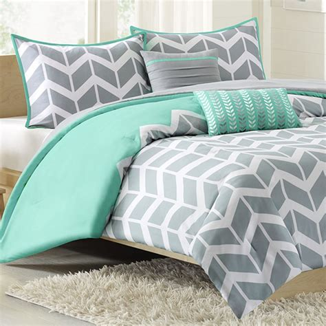 Nadia Twin Xl Comforter Set Chevron Teal Free Shipping Xl Bedding