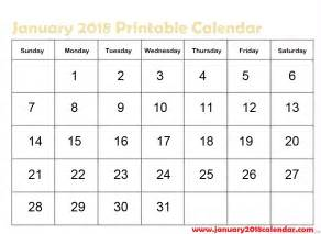 Jan 2018 Calendar Printable January 2018 Calendar