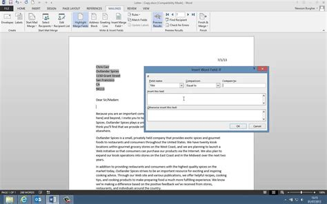 Mail Merge Excel Template by Word Mail Merge From Excel Vba Word 2010 Using Mail