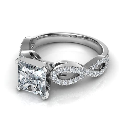 infinity design princess cut engagement ring in