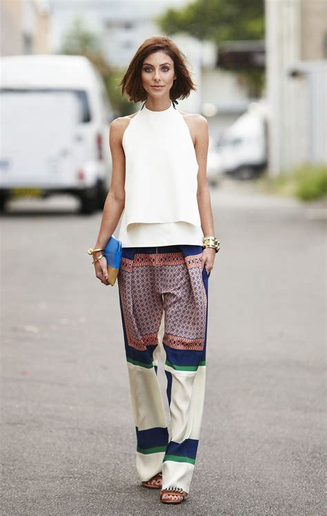how to wear printed pantstrousers fall2013 pinterest celine printed silk palazzo pants white sleeveless top
