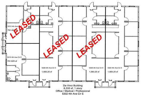 floor plan insurance da vinci building