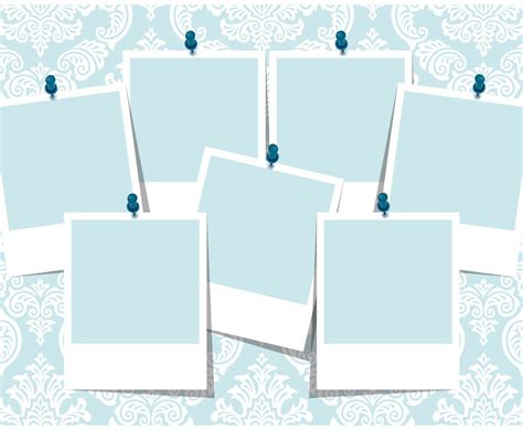 Blue Damask Photo Collage Template Vector Art Graphics Freevector Com Printable Photo Collage Template