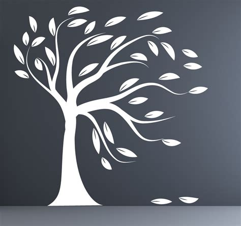 tree silhouette wall sticker white tree silhouette wall sticker blowing tree by couturedecals