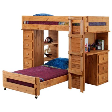 bunk bed over desk twin over twin student l shaped bunk bed with desk and