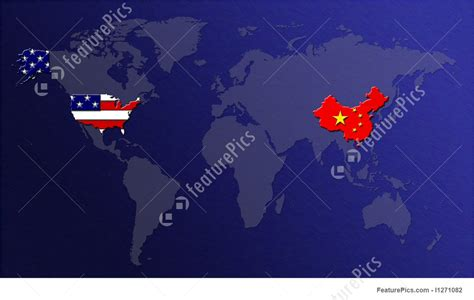 map of usa vs china world map illustration