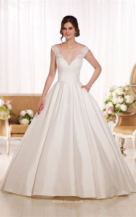 illusion v neck back ivory long ball gown