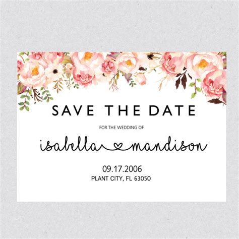 save the date card template free printable save the date template card floral save the date